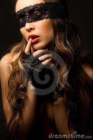 Free Woman Looking Through Black Openwork Lace Royalty Free Stock Photo - 19523605