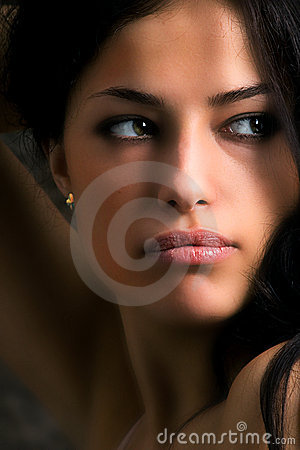 Woman looking to her side