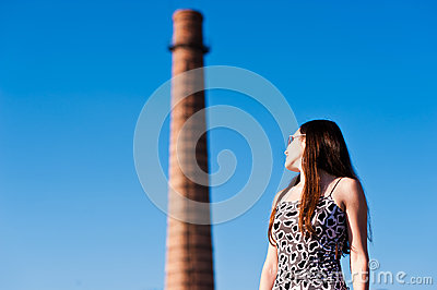 Woman looking at the tower