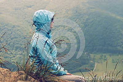 Woman looking at the valley
