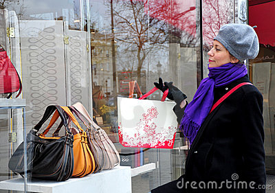 Woman looking at window shop