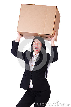 Woman with lots of boxes