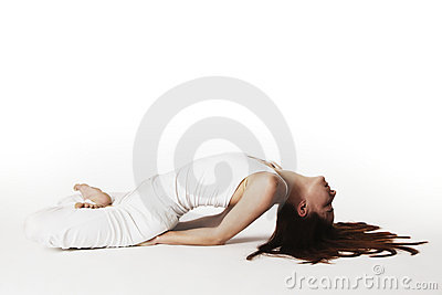 Woman in lotus fish Yoga posture