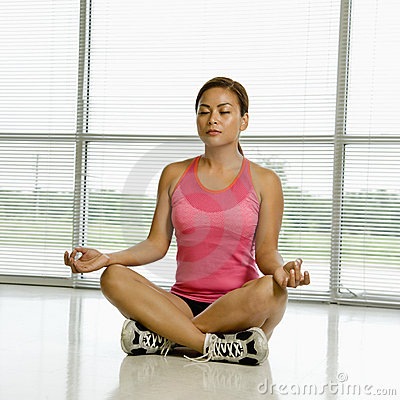 Woman in lotus position.