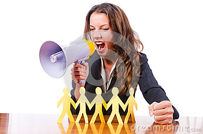 Woman with loudspeaker and paper cut people