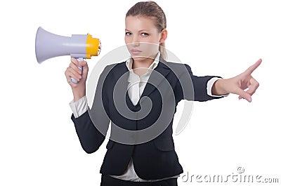 Woman with loudspeaker