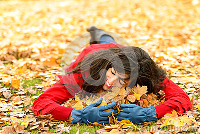 Woman loving autumn season