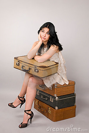 Woman and luggage.