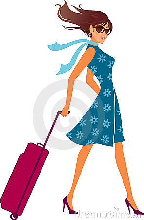 Woman with a luggage bag. Baggage bag.