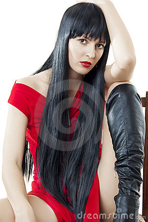 Woman with luxuriant healthy long black hair