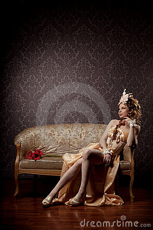 Woman in a luxurious vintage style