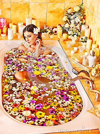 Woman at luxury spa.