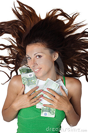 Free Woman Lying And Clasp Money Euro To Breast Hair Stock Photography - 15981272