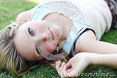 Woman lying outside
