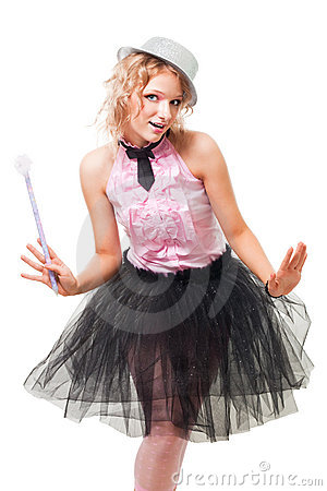 Woman with magic wand and hat,