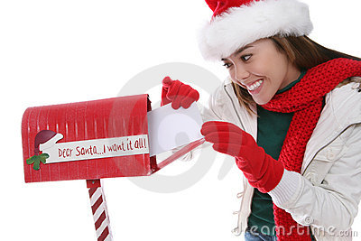 Woman Mailing Christmas Letter