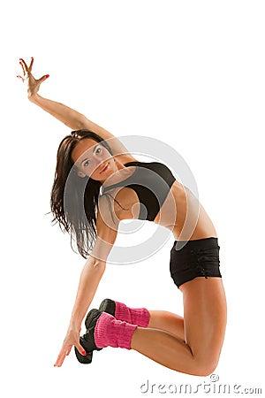 Woman make stretch on yoga pose