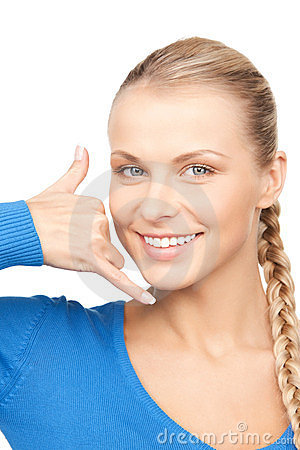 Free Woman Making A Call Me Gesture Royalty Free Stock Image - 23967916
