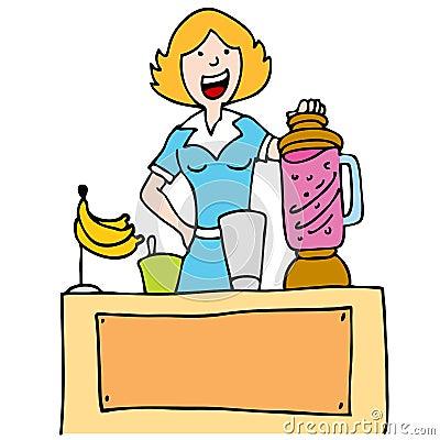Woman Making a Banana Smoothie