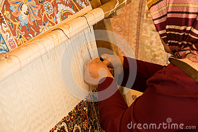Woman Making Carpet Editorial Photo