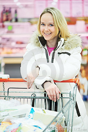 Woman making dairy shopping