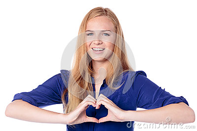 Woman making a heart gesture