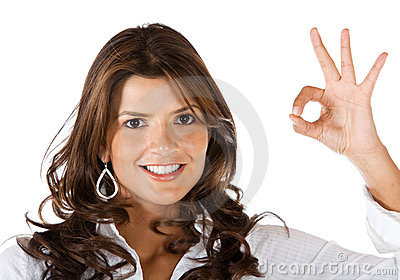 Woman making an ok sign