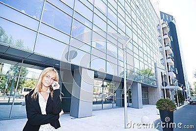 Woman making phone call outside