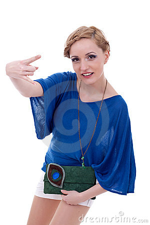 Woman making a rock and roll gesture