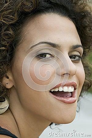 Woman making sensual expression