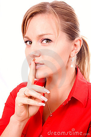Woman Making Silence Gesture