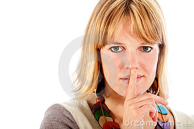 Woman making a silence signal