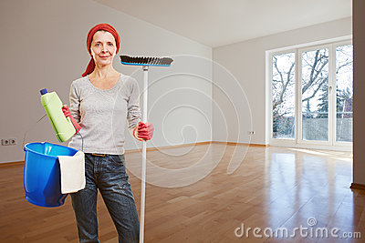 Woman making spring cleaning