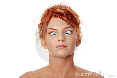 Woman making squint