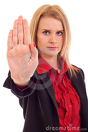 Woman Making Stop Gesture Stock Photo - Image: 15057290