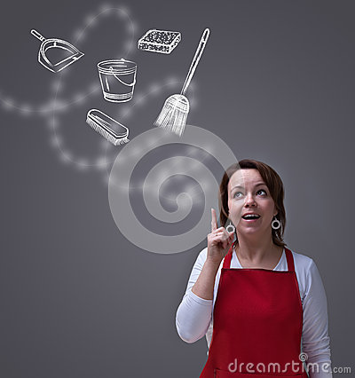 Free Woman Making Up A Spring Cleaning Plan Stock Photos - 30434173