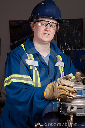 Woman in male type job