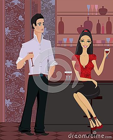 Woman and man at the bar