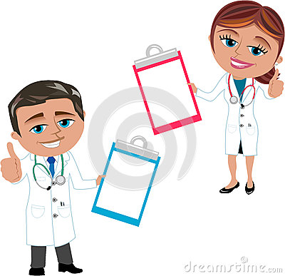 Woman and Man Doctor Showing Folder