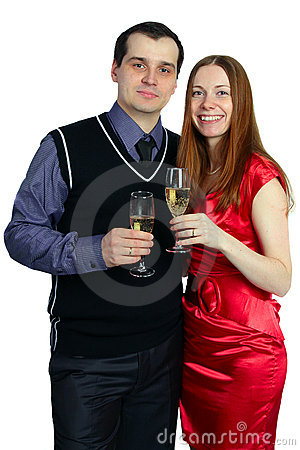 Woman and man with a glass of champagne