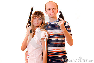 Woman and man with guns