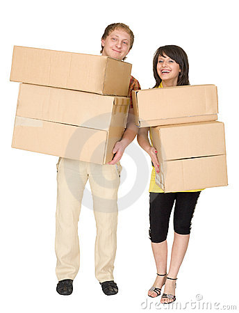 Woman and the man hold boxes