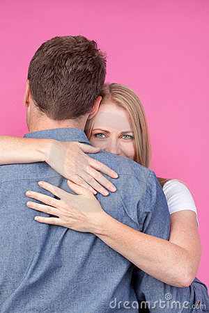 Woman and Man Hugging