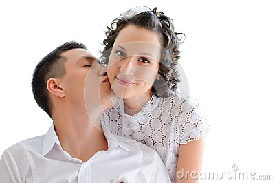 Woman with man near by kissing her