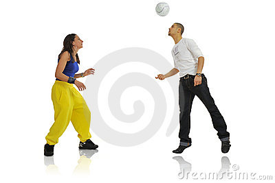 Woman and man playing
