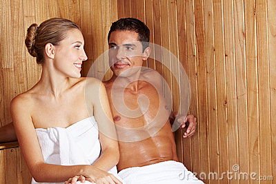 Woman and man in sauna