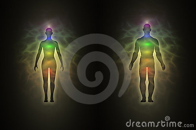 Woman and man silhouette, aura, chakras, energy