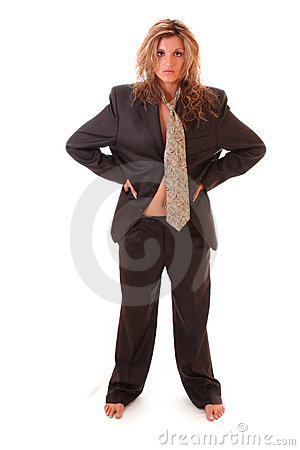 Woman in man suit