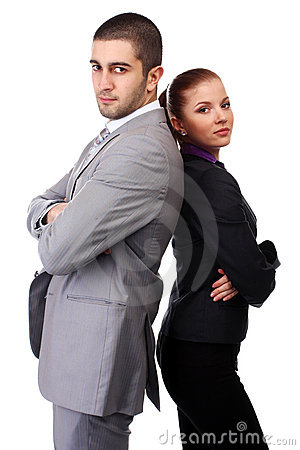 Woman and man in suits
