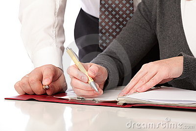 Woman and man write pen on paper Isolated